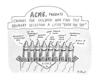 Crayons Drawing - New Yorker January 27th, 1992 by Roz Chast