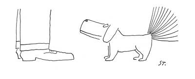 Puppy Drawing - New Yorker January 28th, 1956 by Saul Steinberg