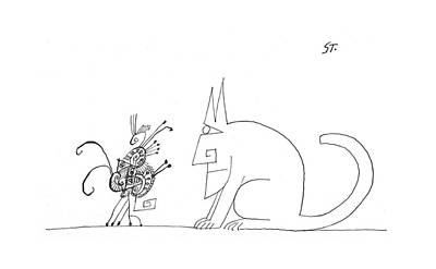 Antennae Drawing - New Yorker January 28th, 1967 by Saul Steinberg