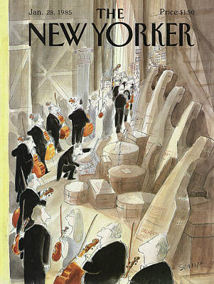 Entertainment Painting - New Yorker January 28th, 1985 by Jean-Jacques Sempe
