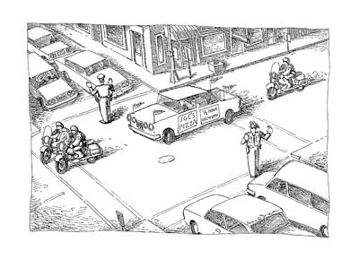 Stop Sign Drawing - New Yorker January 28th, 1991 by John O'Brien
