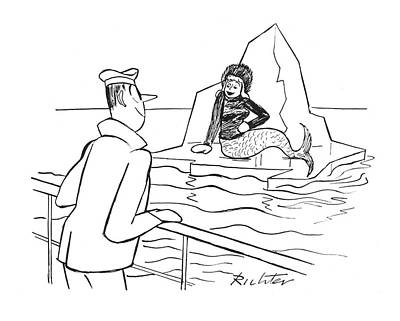 Mermaid Drawing - New Yorker January 29th, 1944 by Mischa Richter
