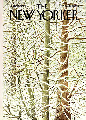Winter Painting - New Yorker January 29th, 1966 by Ilonka Karasz