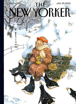 Puffin Painting - New Yorker January 29th, 2001 by Peter de Seve