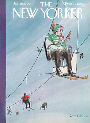 Ski Painting - New Yorker January 30th, 1960 by Charles Saxon