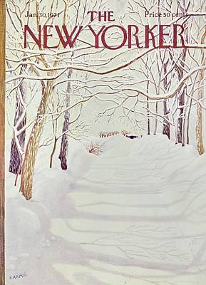 Winter Landscape Painting - New Yorker January 30th 1971 by Ilonka Karasz