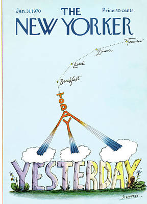 Dinner Painting - New Yorker January 31st, 1970 by Saul Steinberg