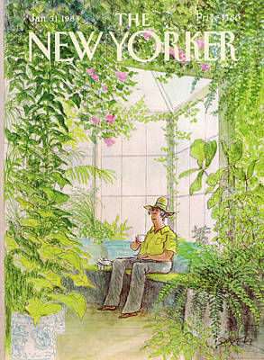 Coffee Painting - New Yorker January 31st, 1983 by Charles Saxon