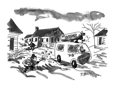 Winter Drawing - New Yorker January 31st, 1994 by Donald Reilly