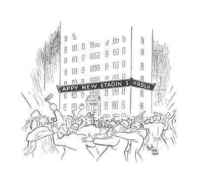New Years Eve Drawing - New Yorker January 3rd, 1942 by Ned Hilton