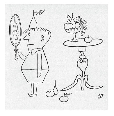 A Hand Mirror Drawing - New Yorker January 3rd, 1953 by Saul Steinberg