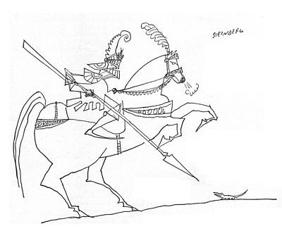 Shine Drawing - New Yorker January 3rd, 1959 by Saul Steinberg