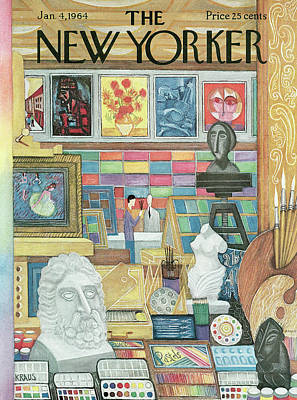 Shops Painting - New Yorker January 4th, 1964 by Robert Kraus