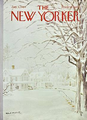 Winter Landscape Painting - New Yorker January 4th 1969 by Albert Hubbell