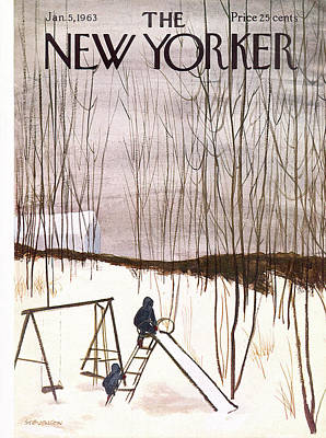 Winter Painting - New Yorker January 5th, 1963 by James Stevenson