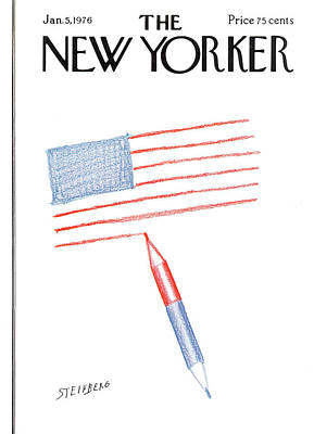 Flag Painting - New Yorker January 5th, 1976 by Saul Steinberg
