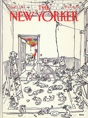 Winter Painting - New Yorker January 5th, 1981 by George Booth