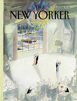 Winter Painting - New Yorker January 5th, 1987 by Jean-Jacques Sempe