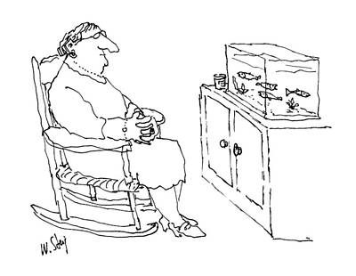 Rocking Chairs Drawing - New Yorker January 5th, 1987 by William Steig