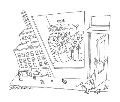 Storefront Drawing - New Yorker January 5th, 1998 by Gahan Wilson