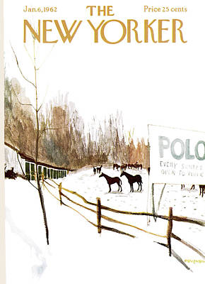 Winter Sports Painting - New Yorker January 6th, 1962 by James Stevenson