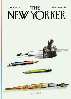 Fountain Painting - New Yorker January 6th, 1975 by Saul Steinberg