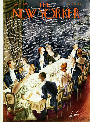 Party Painting - New Yorker January 7 1939 by Constantin Alajalov