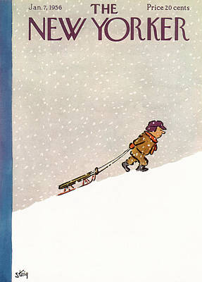 Winter Snow Painting - New Yorker January 7th, 1956 by William Steig