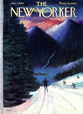 Downhill Painting - New Yorker January 7th, 1961 by Charles E. Martin