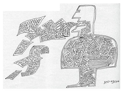 Weird Drawing - New Yorker January 7th, 1961 by Saul Steinberg