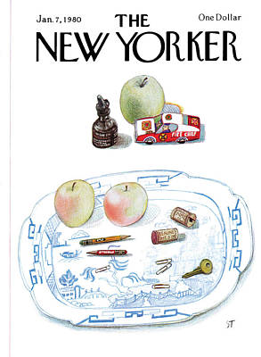 New Yorker January 7th, 1980 Art Print by Saul Steinberg