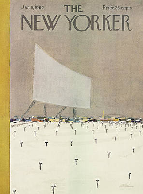 Drive In Theater Painting - New Yorker January 9th, 1960 by  Alain