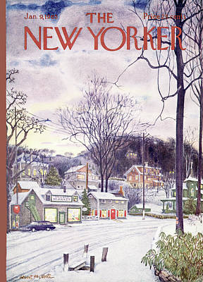 Trees In Snow Painting - New Yorker January 9th, 1965 by Albert Hubbell