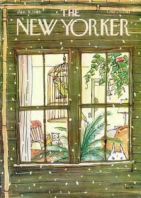 Winter Painting - New Yorker January 9th, 1978 by George Booth