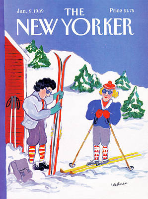 Winter Sports Painting - New Yorker January 9th, 1989 by Barbara Westman