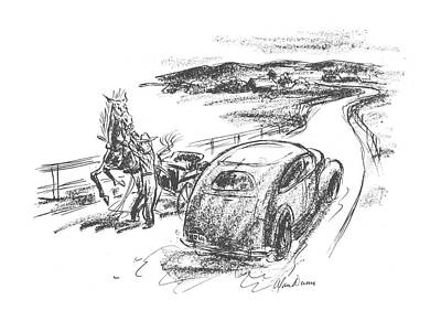 Horse And Buggy Drawing - New Yorker July 10th, 1943 by Alan Dunn