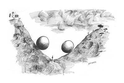 Valley Drawing - New Yorker July 10th, 1965 by Saul Steinberg