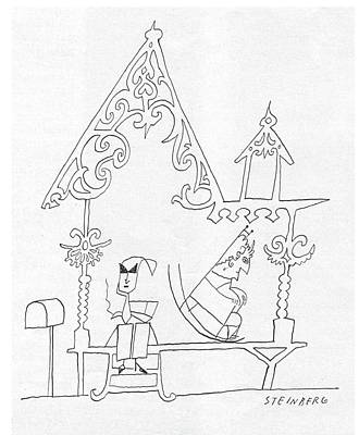 Rocking Chairs Drawing - New Yorker July 12th, 1958 by Saul Steinberg