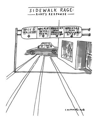 Overhang Drawing - New Yorker July 12th, 1999 by Michael Crawford