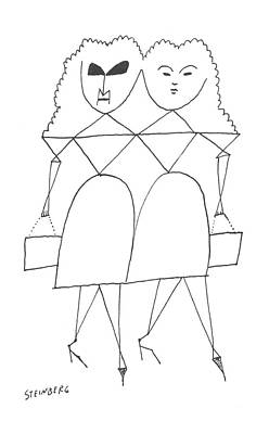 Connect Drawing - New Yorker July 13th, 1957 by Saul Steinberg