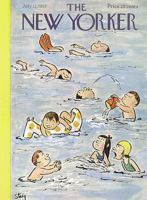 Kids Painting - New Yorker July 13th, 1957 by William Steig