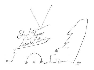 Relaxing Drawing - New Yorker July 13th, 1963 by Saul Steinberg