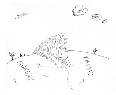 Philosophical Drawing - New Yorker July 13th, 1968 by Saul Steinberg
