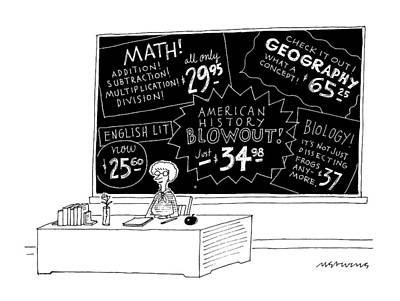 Blackboards Drawing - New Yorker July 13th, 1992 by Mick Stevens