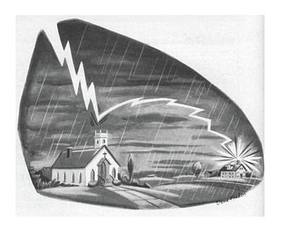 Lightning Drawing - New Yorker July 14th, 1956 by Dana Fradon
