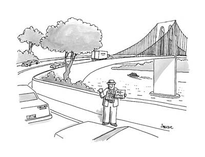 Pin Drawing - New Yorker July 14th, 1997 by Jack Ziegler