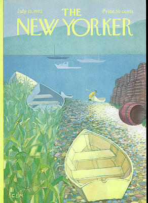 Coastal Painting - New Yorker July 15th, 1972 by Charles E. Martin
