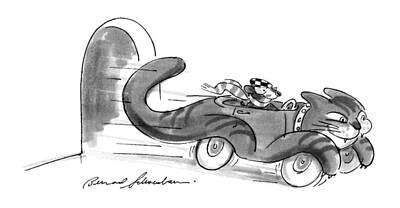 Sport Car Drawing - New Yorker July 16th, 1990 by Bernard Schoenbaum