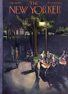 Night Painting - New Yorker July 18th, 1953 by Arthur Getz