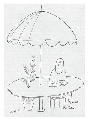 At The Cafe Drawing - New Yorker July 18th, 1953 by Saul Steinberg